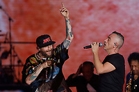 Eros Ramazzotti and Lorenzo Jovsnotti  performs during &quot;Pino &egrave;&quot; tribute concert at Pino Daniele, Italian singer dead in 2015,<br /> Naples 07 june 2018<br /> ph cixer