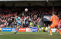 Max Muller of Wycombe Wanderers hits a shot at goal during the Sky Bet League 2 match between Grimsby Town and Wycombe Wanderers at Blundell Park, Cleethorpes, England on 4 March 2017. Photo by Andy Rowland / PRiME Media Images.