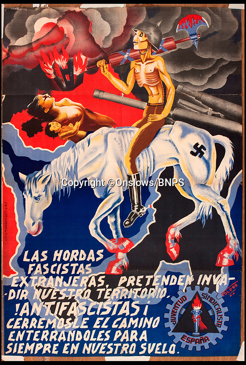 "BNPS.co.uk (01202 558833)<br /> Pic: Onslows/BNPS<br /> <br /> Most valuable lot estimated at £1200 shows a Nazi branded horse trampling Spanish freedom.<br /> <br /> As Spain teeters on the brink of another civil war over the Catalonian independence crisis, a rare collection of posters from the Spanish Civil War of the 1930's have emerged for sale 80 years after the country was last in turmoil.<br /> <br /> The seven posters, which are expected to fetch more than £10,000 at auction, were all made by anti-fascist artists supporting the democratic Republican cause after a group of army generals led by Franco staged a military coup and tried to take control in 1936.<br /> <br /> In a country with a high rate of illiteracy, much of the propaganda produced in the first few years of the war used rousing images to deliver their message to the masses.<br /> <br /> Hitler and Mussolini both sent thousands of troops and weapons to help the right-wing Nationalists and many of the Republican posters slammed the ""foreign fascist hordes"" and the pictures showed swastika-covered enemies.<br /> <br /> The posters will be sold by Onslows Auctioneers in Stourpaine, Dorset on December 15."
