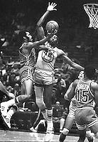 Warriors vs. Philadelphia 76ers...Nate Thurmond blocks shot of 76er Jim Washington. (1970 photo/Ron Riesterer)