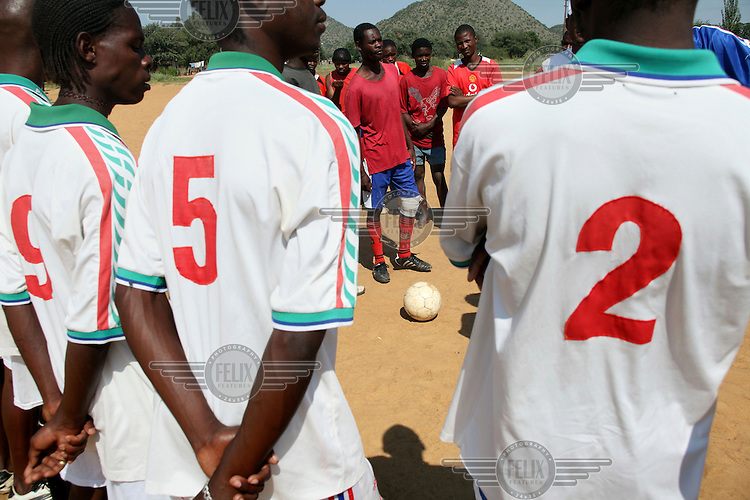 Ocean Pineut and Manchester United just before kick off in their football match being played in Otjivero.