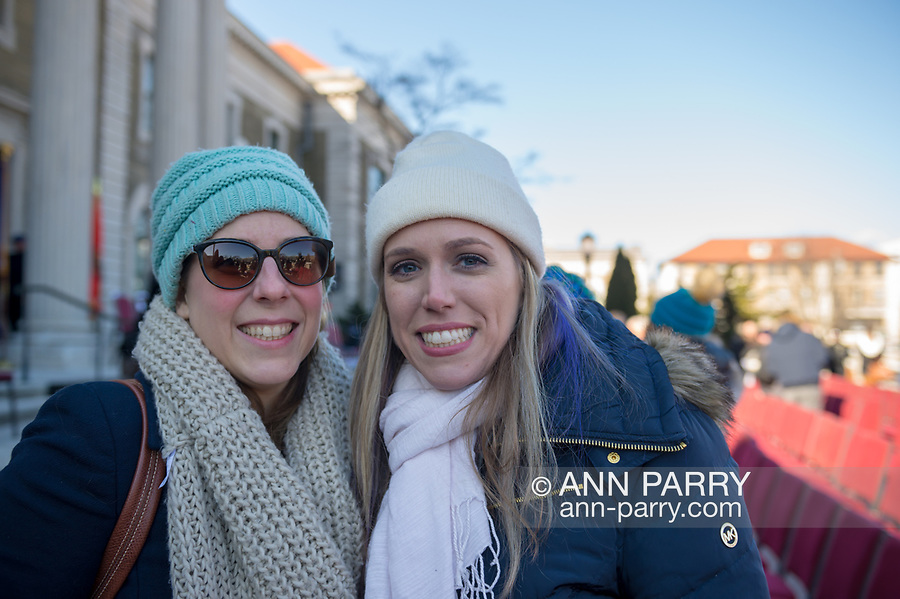 Mineola, NY, USA. January 1, 2018. L-R, LIUBA GRECHEN SHIRLEY, Congressional candidate for District 2 on Long Island, and SUE MOLLER, 2017 candidate for Hempstead Town Council District 6, pose for photo outside Theodore Roosevelt Executive & Legislative Building, after swearing-in of Laura Curran as Nassau County Executive.