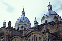 Blue and white domes of the new cathedral or Catedral de la Inmaculada Concepcion in Cuenca, Ecuador