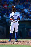 Sherten Apostel (82) of the Texas Rangers during a Cactus League Spring Training game against the Los Angeles Dodgers on March 8, 2020 at Surprise Stadium in Surprise, Arizona. Rangers defeated the Dodgers 9-8. (Tracy Proffitt/Four Seam Images)