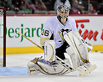 21 September 2009: Pittsburgh Penguins' goaltender John Curry warms up prior to a pre-season game against the Montreal Canadiens at the Bell Centre in Montreal, Quebec, Canada. The Canadiens defeated the defending Stanley Cup Champion Penguins 4-3. Mandatory Credit: Ed Wolfstein Photo