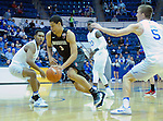 January 24, 2017:  San Diego State guard, Trey Kell #3, splits Falcon defenders and drives for the basket during the NCAA basketball game between the San Diego State Aztecs and the Air Force Academy Falcons, Clune Arena, U.S. Air Force Academy, Colorado Springs, Colorado.  Air Force defeats San Diego State 60-57.