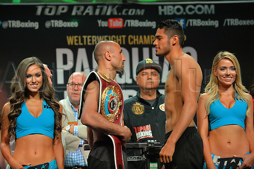 08.04.2016. Las Vegas, Nevada, USA.  WBO Super Middleweight Champion Arthur Abraham (L) and Gilberto Ramirez (Mazatlan, Mexico) face off during the official pre-fight weigh in at the MGM Grand Garden Arena at the MGM Grand Hotel and Casino in Las Vegas, Nevada. Arthur Abraham will defend his Super Middleweight WBO World Title against Gilberto Ramirez (Mazatlan, Mexico) on Saturday, April 9, 2016 at the MGM Grand Garden Arena in Las Vegas, Nevada, USA.