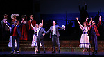 "Joel Grey and Clyde Alves with cast during the final performance curtain call for the New York City Center Encores! at 25 production of  ""Hey, Look Me Over!"" on February 11, 2018 at the City Center Theatre in New York City."