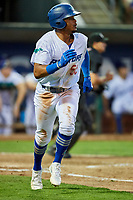 Daniel Robinson (50) of the Ogden Raptors runs to first base during a game against the Grand Junction Rockies at Lindquist Field on September 7, 2018 in Ogden, Utah. The Rockies defeated the Raptors 8-5. (Stephen Smith/Four Seam Images)