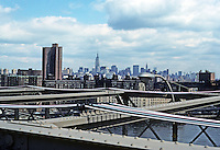 New York: Looking up Manhattan from Brooklyn Bridge. Photo '78.