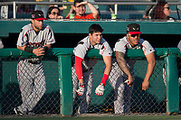 Deion Tansel (10), Hudson Potts (15), and Marcus Greene Jr. (6) of the Lake Elsinore Storm during a California League game against the Modesto Nuts at John Thurman Field on May 11, 2018 in Modesto, California. Modesto defeated Lake Elsinore 3-1. (Zachary Lucy/Four Seam Images)