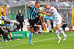 11.08.2019, Carl-Benz-Stadion, Mannheim, GER, DFB Pokal, 1. Runde, SV Waldhof Mannheim vs. Eintracht Frankfurt, <br /> <br /> DFL REGULATIONS PROHIBIT ANY USE OF PHOTOGRAPHS AS IMAGE SEQUENCES AND/OR QUASI-VIDEO.<br /> <br /> im Bild: Maurice Deville (SV Waldhof Mannheim #14) gegen Martin Hinteregger (Eintracht Frankfurt #13)<br /> <br /> Foto © nordphoto / Fabisch