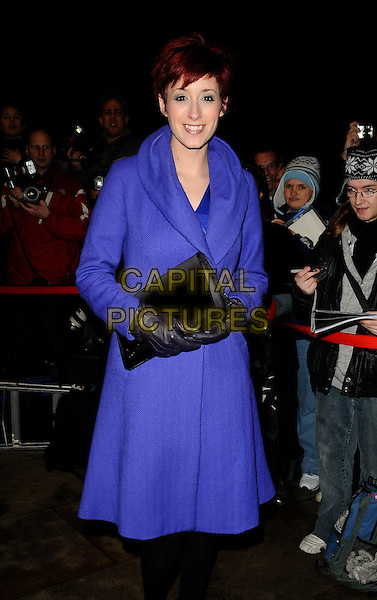 CONNIE FISHER.The What's On Stage Theatregoers' Choice Awards, Prince of Wales theatre, Coventry St., London, England..February 15th, 2009.full length 3/4 blue coat jacket black gloves clutch bag .CAP/CAN.©Can Nguyen/Capital Pictures.