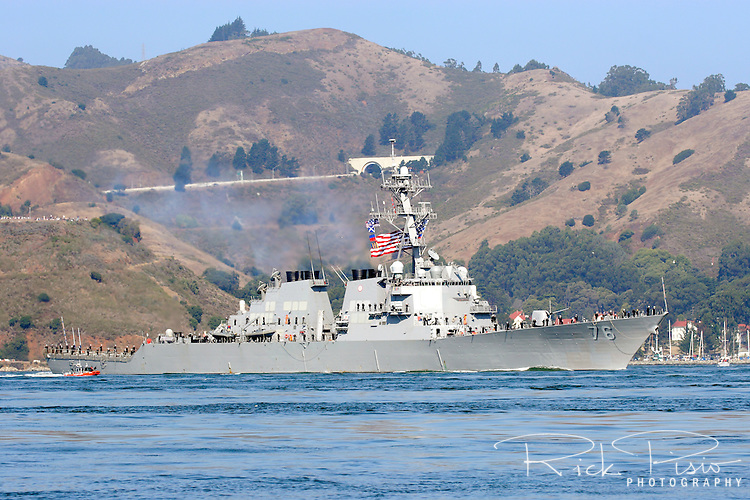 The United States Navy Destroyer USS Higgins (DDG-76) sails into San Franciso Bay in front of the Fort Baker Marina as part of the Parade of Ships during the 2006 San Francisco Fleet Week activities. The USS Higgins was named after William R. Higgins (1945-1990), a United States Marine Corps Colonel who was captured by a pro-Iranian group allied with Hezbollah and held hostage in February 1988. At the time of his capture he was serving on a United Nations peacekeeping mission in Lebanon and was killed while in captivity. Photographed 10/06