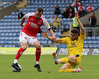 Fleetwood Town's Nathan Sheron is pressured Oxford United's Marcus Browne<br /> <br /> Photographer David Shipman/CameraSport<br /> <br /> The EFL Sky Bet League One - Oxford United v Fleetwood Town - Saturday August 11th 2018 - Kassam Stadium - Oxford<br /> <br /> World Copyright &copy; 2018 CameraSport. All rights reserved. 43 Linden Ave. Countesthorpe. Leicester. England. LE8 5PG - Tel: +44 (0) 116 277 4147 - admin@camerasport.com - www.camerasport.com