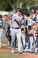 Salt River Rafters right fielder Sam Hilliard (14), of the Colorado Rockies organization, during player introductions before the Arizona Fall League Championship game against the Peoria Javelinas at Scottsdale Stadium on November 17, 2018 in Scottsdale, Arizona. Peoria defeated Salt River 3-2 in extra innings. (Zachary Lucy/Four Seam Images)