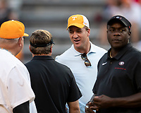 KNOXVILLE, TN - OCTOBER 5: Peyton Manning speaks to Georgia head coach Kirby Smart prior to the game during a game between University of Georgia Bulldogs and University of Tennessee Volunteers at Neyland Stadium on October 5, 2019 in Knoxville, Tennessee.