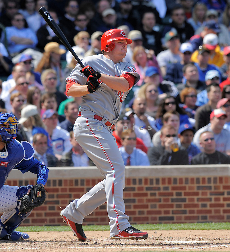 JAY BRUCE, of the Cincinnati Reds, in action  during the Reds game against the Chicago Cubs  on April 23, 2009 in Chicago, Illinois  The Reds beat  the Cubs 7-1.