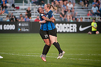 Kansas City, MO - Saturday May 27, 2017: Sydney Leroux, Becky Sauerbrunn during a regular season National Women's Soccer League (NWSL) match between FC Kansas City and the Washington Spirit at Children's Mercy Victory Field.