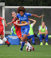 20190823 – OOSTAKKER, BELGIUM : Gent's Kassandra Missipo (R) and Standard's Charlotte Cranshoff (L) <br />  pictured during a women soccer game between AA Gent Ladies and Standard Femina de Liege on the first matchday of the Belgian Superleague season 2019-2020 , the Belgian women's football  top division , friday 23 th August 2019 at the PGB Stadium Oostakker in Gent  , Belgium  .  PHOTO SPORTPIX.BE | DIRK VUYLSTEKE