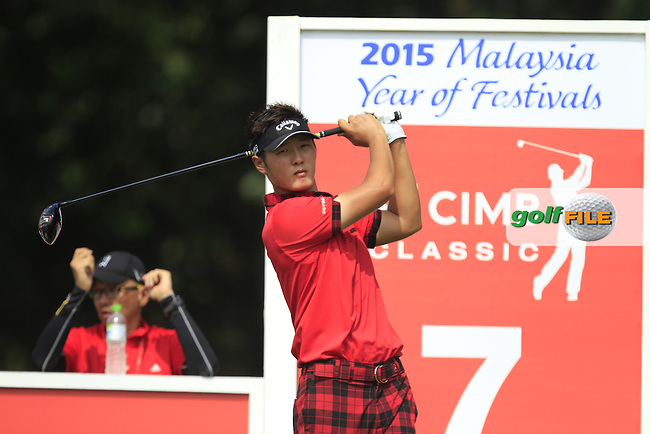 Danny Lee (NZL) on the 7th tee during Round 4 of the CIMB Classic in the Kuala Lumpur Golf &amp; Country Club on Sunday 2nd November 2014.<br /> Picture:  Thos Caffrey / www.golffile.ie