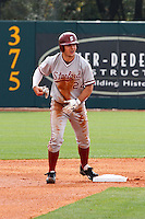 HOUSTON, TEXAS - Feb. 19, 2011: Jake Stewart of Stanford leads off second  base following a first inning double during the game against Rice. Rice defeated Stanford 7-1.
