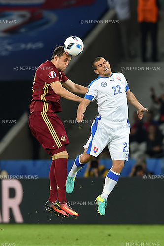 Artem Dzyuba (Russia) Viktor Pecovsky (Slovakia) ; <br /> June 15, 2016 - Football : Uefa Euro France 2016, Group B, Russia 1-2 Slovakia at Stade Pierre Mauroy, Lille Metropole, France. (Photo by aicfoto/AFLO)