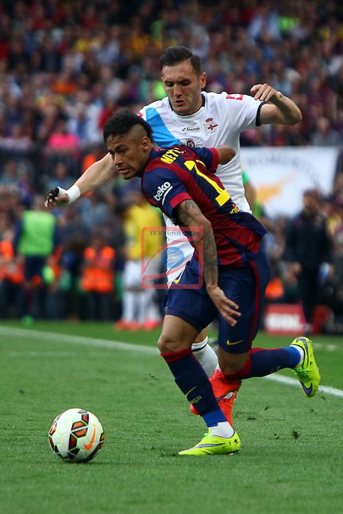 League BBVA 2014/2015. Game: 38.<br /> FC Barcelona vs Deportivo: 2-2.<br /> Lucas vs Neymar.
