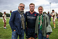 Isaac Miller of London Scottish stands with his parents during the Greene King IPA Championship match between London Scottish Football Club and Doncaster Knights at Richmond Athletic Ground, Richmond, United Kingdom on 30 September 2017. Photo by Jason Brown / PRiME Media Images.