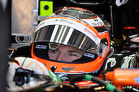 Nico Hulkenberg of Sahara Force India F1 Team driving (27) VJM07 in the garage during second practice session of  2014 Formula 1 United States Grand Prix, Friday, October 31, 2014 in Austin, Tex. (Mo Khursheed/TFV Media via AP Images)