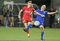 Portland, OR - Saturday July 30, 2016: Hayley Raso, Elli Reed during a regular season National Women's Soccer League (NWSL) match between the Portland Thorns FC and Seattle Reign FC at Providence Park.
