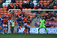 Blackpool's Armand Gnanduillet heads clear defending against Rochdale's Jordan Williams<br /> <br /> Photographer Stephen White/CameraSport<br /> <br /> The EFL Sky Bet League One - Blackpool v Rochdale - Saturday 6th October 2018 - Bloomfield Road - Blackpool<br /> <br /> World Copyright &copy; 2018 CameraSport. All rights reserved. 43 Linden Ave. Countesthorpe. Leicester. England. LE8 5PG - Tel: +44 (0) 116 277 4147 - admin@camerasport.com - www.camerasport.com