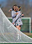 30 March 2016: University of Vermont Catamount Attacker Meredith Moore, a Junior from Baltimore, MD, celebrates a second half goal with teammate Alex Bernier, a Junior from Falmouth, Maine, during a game against the Manhattan College Jaspers at Virtue Field in Burlington, Vermont. The Lady Cats defeated the Jaspers 11-5 in non-conference play. Mandatory Credit: Ed Wolfstein Photo *** RAW (NEF) Image File Available ***