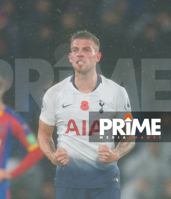 Tottenham's Toby Alderweireld celebrating after the Premier League match between Crystal Palace and Tottenham Hotspur at Selhurst Park, London, England on 10 November 2018. Photo by Andrew Aleksiejczuk / PRiME Media Images.