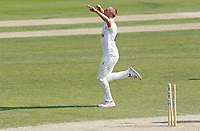 Jamie Porter of Essex celebrates taking the wicket of Laurie Evans during Essex CCC vs Surrey CCC, Bob Willis Trophy Cricket at The Cloudfm County Ground on 9th August 2020