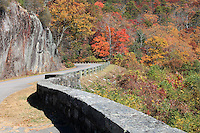 Stock photo- A turning point on the Blue Ridge Parkway in autumn, North Carolina, America.