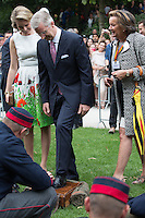 King Philippe of Belgium & Queen Mathilde of Belgium in the Royal Park on National Day - Belgium