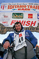 "Wednesday March 14, 2007   ----   John Baker leans on his handlebars after his 8th place finish in Nome.  John says this year's race was the ""toughest race I've ever been in""."