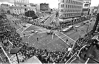 "Oakland Athletics victory parade including Charlie ""O"" the mule in downtown Oakland, Oct 22,1973. The A's defeated the New York Mets for their 2nd World Series championship in a row. (photo by Ron Riesterer)"