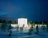Finland, Rovaniemi, exhibition of illuminated ice sculpture by Yoko Ono and Arata Isozaki.
