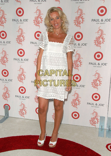 SOPHIE ALBOU.Sophie Albou's Paul & Joe Collection for The Opening of Target Temporary Boutique on Melrose in Beverly Hills, California, USA..July 27th, 2006.Ref: DVS.full length white dress lace.www.capitalpictures.com.sales@capitalpictures.com.©Debbie VanStory/Capital Pictures