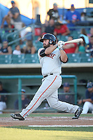 Dylan Davis (43) of the San Jose Giants bats against the Lancaster JetHawks during the second game of a doubleheader at The Hanger on July 14, 2016 in Lancaster, California. Lancaster defeated San Jose, 3-0. (Larry Goren/Four Seam Images)