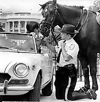 Park Policeman with his horse talks with girl in sport car near South lawn of the White House, Fine Art Photography by Ron Bennett, Fine Art, Fine Art photography, Art Photography, Copyright RonBennettPhotography.com ©