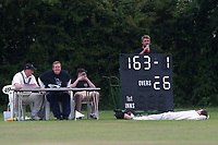 The scoreboard on the adjacent pitch during Gidea Park and Romford CC vs Harold Wood CC, Shepherd Neame Essex League Cricket at Gidea Park Sports Ground on 1st July 2017