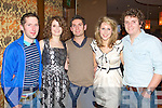 NEW YEAR TIME: Having a great time bring in the New Year at the Carlton hotel, Tralee on Friday l-r: Padraig Moynihan, Ciara Walsh, Bryan Walsh, Jennifer Ryan and Liam Walsh..