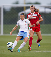 Stephanie Ochs (22) of the Washington Spirit watches the pass of Sonja Fuss (22) of the Chicago Red Stars during the game at the Maryland SoccerPlex in Boyds, Md.   Chicago defeated Washington, 2-0.