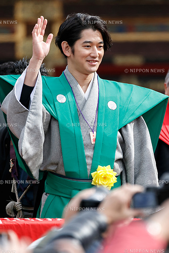 Japanese actor Eita takes part in the Setsubun festival at Naritasan Shinshoji Temple on February 3, 2018, in Chiba, Japan. Japanese celebrities and sumo wrestlers attended the annual festival at Naritasan Shinshoji Temple. People celebrate the traditional event by throwing soybeans outside their houses to ward off evil spirits and invite good fortune. (Photo by Rodrigo Reyes Marin/AFLO)