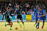 Kyle Bennett (L) and Liam Sercombe (R) of Bristol Rovers during the Sky Bet League 1 match between AFC Wimbledon and Bristol Rovers at the Cherry Red Records Stadium, Kingston, England on 17 February 2018. Photo by Carlton Myrie.