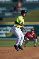 Mark Vientos (13) of the Columbia Fireflies takes his lead off of second base against the Rome Braves at Segra Park on May 13, 2019 in Columbia, South Carolina. The Fireflies walked-off the Braves 2-1 in game one of a doubleheader. (Brian Westerholt/Four Seam Images)