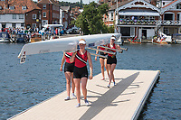 """Henley on Thames, United Kingdom, 6th July 2018, Friday, View,"""" Y Quad Cities"""" Heat of the """"Diamond Jubilee Challenge Cup"""",  vs,  """"Henley Rowing  Club"""" """"Third day"""", of the annual,  """"Henley Royal Regatta"""", Henley Reach, River Thames, Thames Valley, England, © Peter SPURRIER,"""